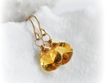 Citrine Earrings, Earrings, Citrine Dangle Earrings Gold, Citrine Gemstone Earrings, Gift for Her, November Birthstone Earrings by Blissaria