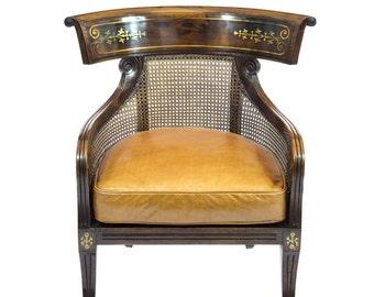 Fine Regency Simulated Rosewood Bergere Armchair