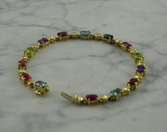 "Gemstone 14K Gold Bracelet 7 1/4"""