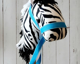 Stick Zebra ! Hobby Horse Zebra ! Black and White !Christmas Present! Ready to Ship ! Cowboy toy ages 3-6! Zoo Stick Animal !