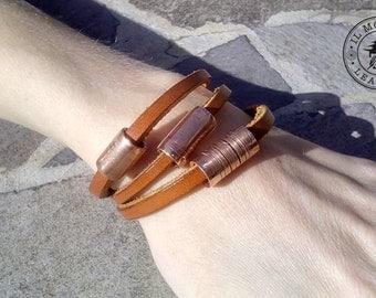 Bracelet, bracelet, Bangle woman, gift for her, bracelet leather and copper, handmade, handmade bracelet