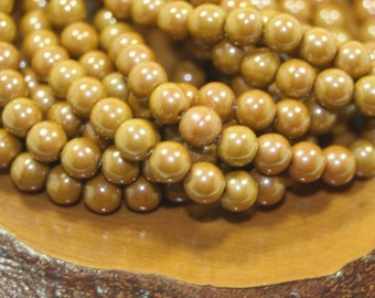 Czech Glass Beads, 6mm Round Druks, Mustard, 30 Beads
