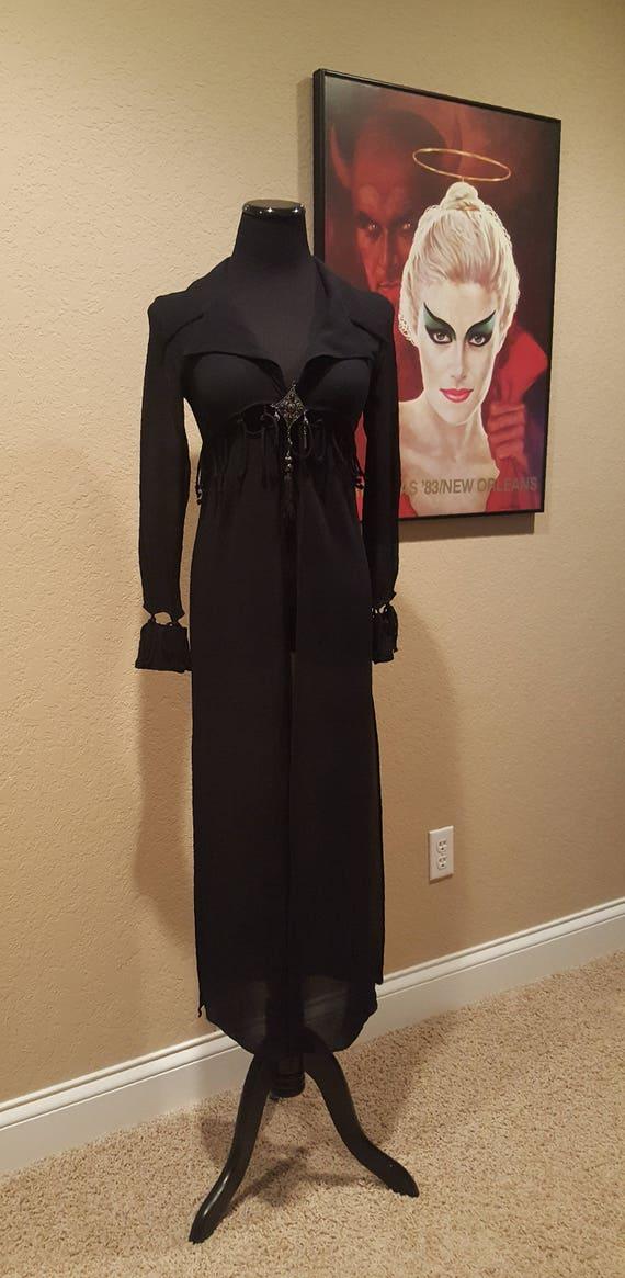 ccc44cd369e Vintage Annie Reva Long Sheer Black Jacket Riding Coat Size Small ~~ Boho