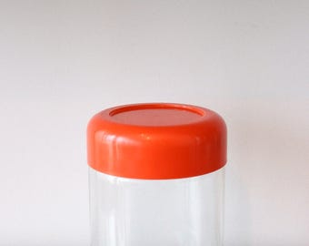 Vintage Heller Rounded Orange Plastic Lidded Glass Jar, Massimo Vignelli, Kitchen Canister, Storage Container, MCM, Retro