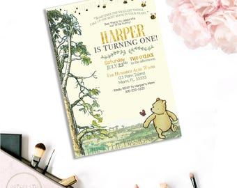 Classic Winnie the Pooh Birthday Invitation, Winnie the Pooh Birthday Invitation, Winnie the Pooh Birthday, Winnie the Pooh, 026-P