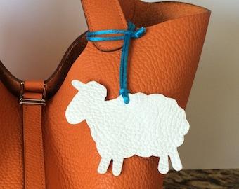 Leather Sheep Bag Charm with Cord