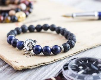8mm - Black lava stone beaded silver Leopard head stretchy bracelet with lapis lazuli beads, lava bracelet, mens bracelet, womens bracelet