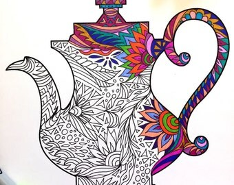 Teapot coloring page | Etsy