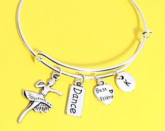 Dance Jewelry Gift, Dancer Charm Bracelet, Dance Pendant, Ballerina Charm, Personalized, Custom, initial Charm, Dance, Best Friend Gift