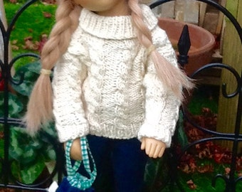 Ooak, handmade denim jeans, cashmere/ cotton blend, cable knit sweater, hand knitted tam and tote bag for 17 inch, 18 inch slim doll.