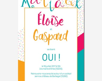 Announcement of marriage customizable - typographic - colorful - geometric - calligraphy