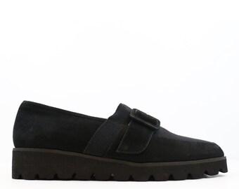 Vintage Black Platform Suede Creeper Loafers size 6.5