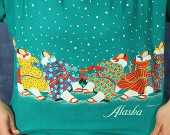 Vintage 80s  90s Alaska T-shirt // Colorful Teal Shirt // Alaskan Natives Tug of War // Large