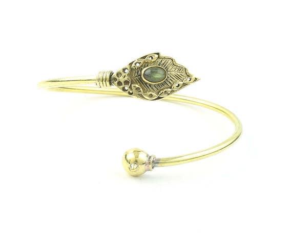Labradorite Leaf Brass Bracelet, Stone Bangle, Lower Arm Cuff, Gemstone, Boho, Bohemian, Gypsy, Festival Jewelry, Feather