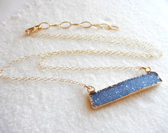 Blue Druzy Bar 24K Gold Necklace Rectangle Horizontal Crystal Quartz Drusy Gold Filled Chain - Free Shipping OOAK Jewelry