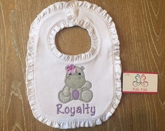 Baby Girl  Personalized Bib, Shirt , Bodysuit and burp cloth with Baby Hippo - Appliqued Baby Hippo