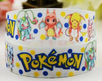 "1"" Pokemon Grosgrain Ribbon by the Yard   Z55"