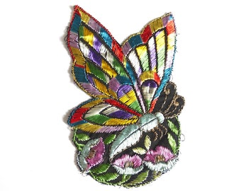 Antique Applique butterfly applique, 1930s vintage embroidered applique. Vintage floral patch, sewing supply. #6A7GB8KF