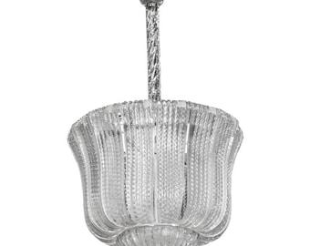 Italian Barovier and Toso Clear Handblown Glass Lantern Chandelier [7918]