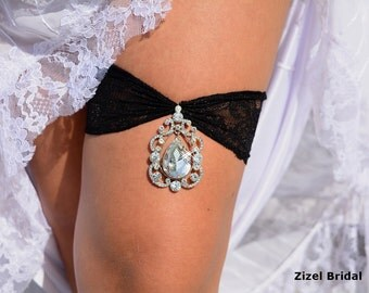 Wedding Garter Set Lace Garters Bridal Rhinestone Black