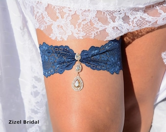 Garter Set  Lace, Wedding Garters, Lace Garter, Wedding Garter Teal, Wedding Gift, Teal Lace Garter, Garter Rhinestone, Garter Gold, Bridal