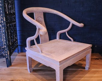 Chinese low open ornamental horseshoe chair - wonderful statement open solid armchair (Shipping is extra)