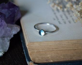 Swiss Blue Topaz Ring 925 - Stacking Ring - Alternative Engagement - November Birthstone