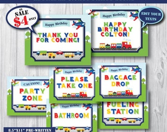 Self-Editing Transportation Birthday Party Signs-Printable Transportation Party Signs-Airplane Car Train Truck First Birthday Party-Any AGE