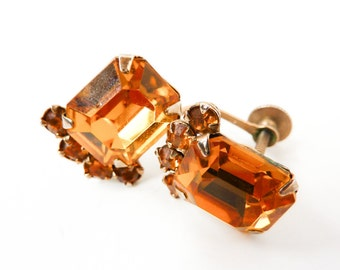 Vintage Orange Rhinestone Earrings from the 1940s with Screw Backs