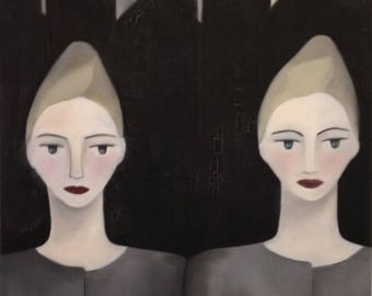 ORIGINAL paint, art, portrait, painting in oil, painted in France, hand-made, 100% made in France, TWINS