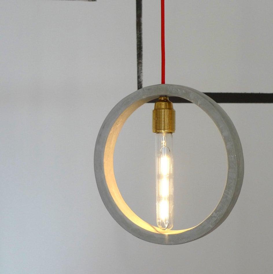 Concrete ceiling lamp Concrete pendant light Round by ...