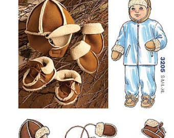 Sewing Pattern for Infants' and Toddlers' Hat, Mittens and Slippers, Kwik Sew Pattern 3205, Babies Winter Fleece or Shearling Sets, Boy Girl