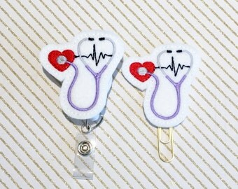 Stethoscope EKG Felt Paper clip l Badge Reel ID Holder l Magnet l Brooch Pin l Planner Clip ID Lanyard Planner Accessories (996)