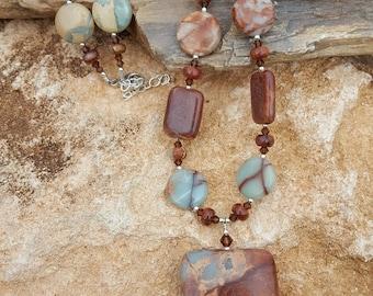 Impression Jasper Gemstone Necklace with Large Rectangle Drop and Sterling Silver - Adj. Length, African Opal Jasper, Aqua Terra Jasper
