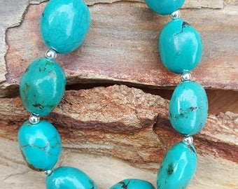 Genuine Blue, Chunky, Oval, Large Turquoise Gemstone and Sterling Silver Bracelet, Chunky Turquoise Bracelet, Large Turquoise Bracelet