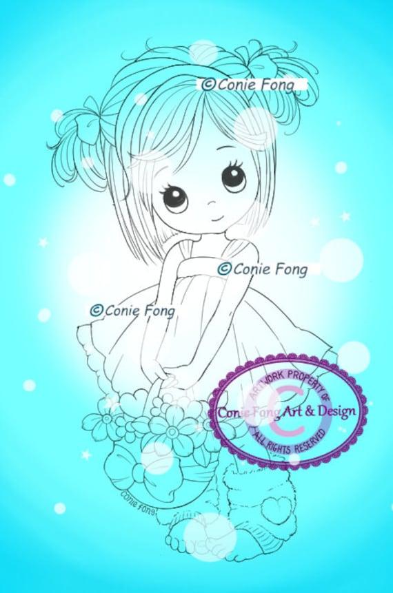 Digital Stamp, Digi Stamp, digistamp, Molly's Basket of Love Conie Fong, Sympathy, Birthday, Mother's Day, Birthday, Fairy, basket, flowers