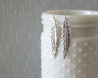 ALEXIS - Long Matte Silver Feather, Sterling Silver Earwire, Dangle Earrings