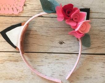 Woodland Fox, Fox Ears Headband, Valentines Day Headband, Woodland Birthday Headband, Fox Headband, Forest Headband, Felt Flower Headband