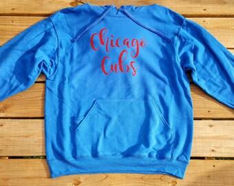 Chicago Cubs Red Glitter Fleece Hooded Sweatshirt Pullover Hoodie
