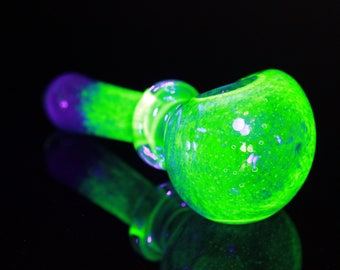 UV Glow Inside out Glass Heady Pipe Hand Blown Color Change With Illuminati