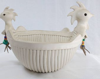 Chicken Skeleton Folk Art Bowl
