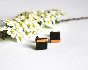 wooden earrings, present, wooden ear studs, gift for her, jewelry, minimalist earrings, hand painted, black, copper