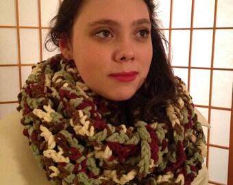Crocheted Infinity Scarf in Festive Tones