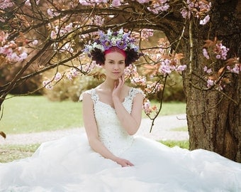 Reversible white and purple spring wedding bridal flower crown