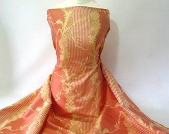 Jaquard Damask Silk~Miranda~Shot silk~reversible~Changeant Silk~Vanilla Yellow~Papaya Orange~English~Satin~Stripe~Floral~No 68