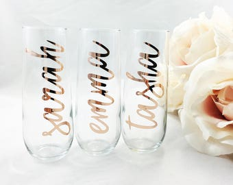 Stemless Champagne Flute, Bridesmaid Champagne Flutes, Mimosa Flute, Bridesmaid Gifts, Wedding Party Glass, Personalized Flutes