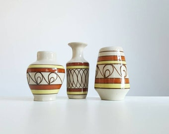 Set of 3 Mid Century Modern signed vases