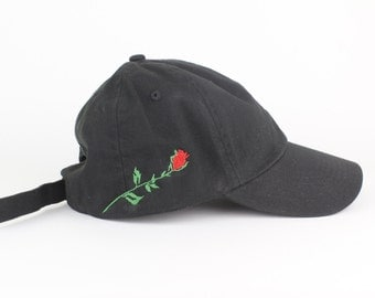 Rose Hat - Black Script Embroidered Dad Hat - Side Design - Polo Hat - Curved Brim Six Panel Fabric Strap Hat - Brand New