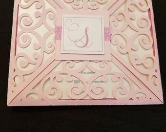 Pink Laser Cut Wedding Invitation with Monogram