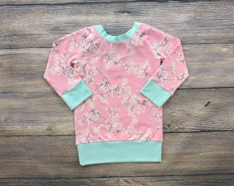 Cherry Blossom Bow Top Baby Shirt Toddler Shirt Girls Shirts Bow Shirt Baby Girl Clothes Cherry Blossom Shirt Baby Girl Outfits Tunic